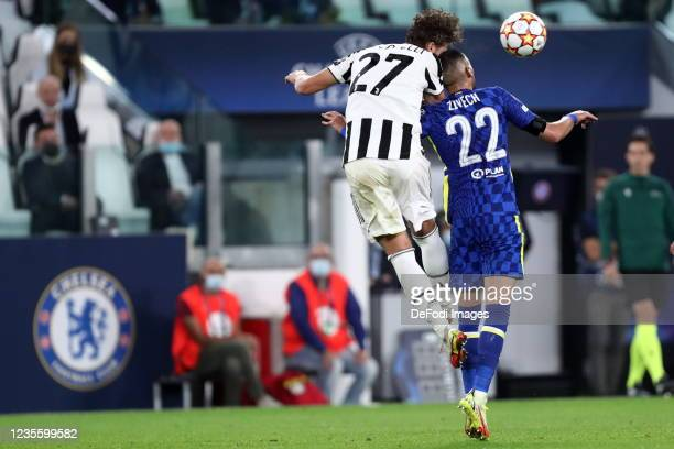 Hakim Ziyech of Chelsea FC and Manuel Locatelli of Juventus FC battle for the ball during the UEFA Champions League group H match between Juventus...