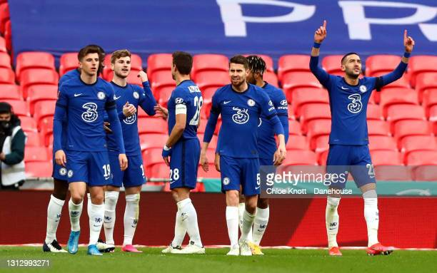 Hakim Ziyech of Chelsea FC celebrates scoring his teams first goal during the Semi Final of the Emirates FA Cup match between Manchester City and...