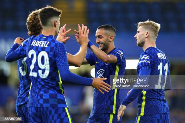 Hakim Ziyech of Chelsea FC celebrates scoring his teams second goal during the Pre Season Friendly between Chelsea and Tottenham Hotspur at Stamford...