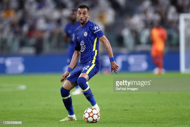 Hakim Ziyech of Chelsea FC controls the ball during the UEFA Champions League group H match between Juventus and Chelsea FC at Juventus Stadium on...