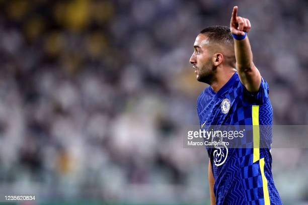 Hakim Ziyech of Chelsea Fc gestures during the Uefa Champions League Group H match between Juventus Fc and Chelsea Fc . Juventus Fc wins 1-0 over...