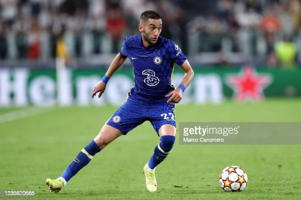 Hakim Ziyech of Chelsea Fc in action during the Uefa Champions League Group H match between Juventus Fc and Chelsea Fc . Juventus Fc wins 1-0 over...