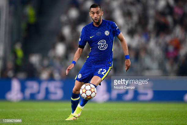 Hakim Ziyech of Chelsea FC in action during the UEFA Champions League football match between Juventus FC and Chelsea FC. Juventus FC won 1-0 over...