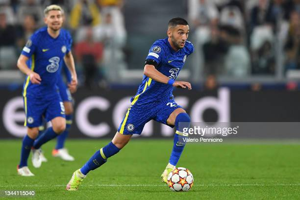 Hakim Ziyech of Chelsea FC in action during the UEFA Champions League group H match between Juventus and Chelsea FC at Allianz Stadium on September...