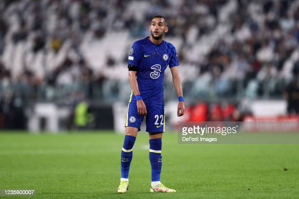 Hakim Ziyech of Chelsea FC looks on during the UEFA Champions League group H match between Juventus and Chelsea FC at Juventus Stadium on September...