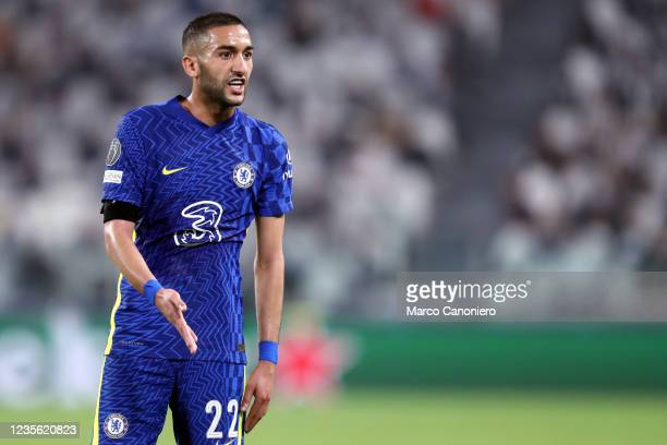 Hakim Ziyech of Chelsea Fc looks on during the Uefa Champions League Group H match between Juventus Fc and Chelsea Fc . Juventus Fc wins 1-0 over...