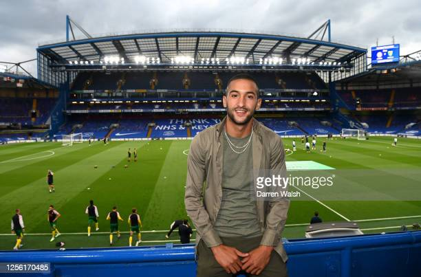 Hakim Ziyech of Chelsea FC poses for a photo inside the stadium prior to the Premier League match between Chelsea FC and Norwich City at Stamford...