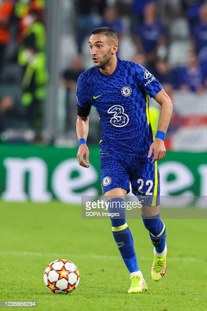Hakim Ziyech of Chelsea FC seen in action during the UEFA Champions League 2021/22 Group Stage - Group H football match between Juventus FC and...