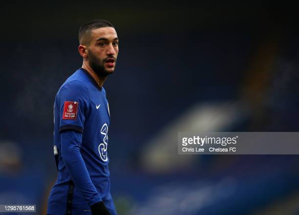Hakim Ziyech of Chelsea in action during the FA Cup Third Round match between Chelsea and Morecambe at Stamford Bridge on January 10, 2021 in London,...