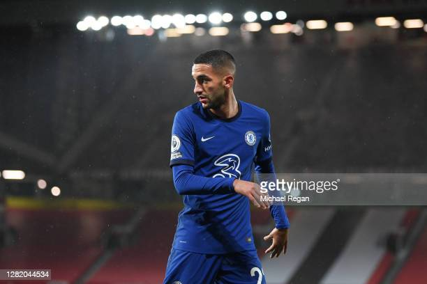 Hakim Ziyech of Chelsea in action during the Premier League match between Manchester United and Chelsea at Old Trafford on October 24, 2020 in...