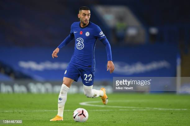 Hakim Ziyech of Chelsea in action during the Premier League match between Chelsea and Sheffield United at Stamford Bridge on November 07, 2020 in...