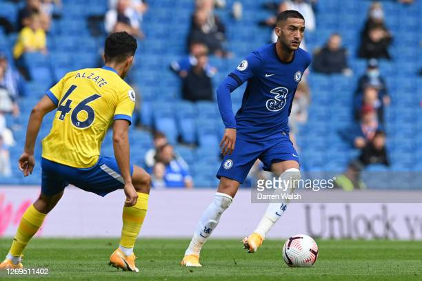 Hakim Ziyech of Chelsea in action during the preseason friendly between Brighton Hove Albion and Chelsea at Amex Stadium on August 29 2020 in...