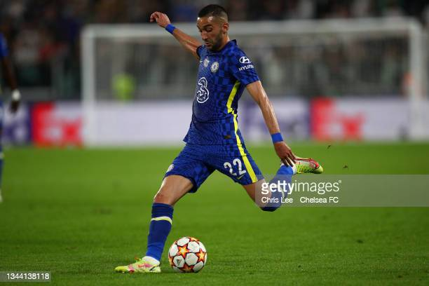 Hakim Ziyech of Chelsea in action during the UEFA Champions League group H match between Juventus and Chelsea FC at on September 29, 2021 in Turin,...