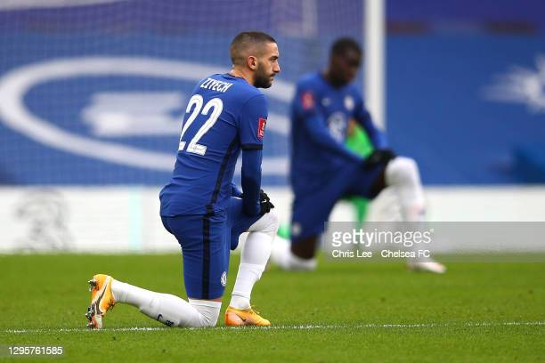 Hakim Ziyech of Chelsea kneels before kick off during the FA Cup Third Round match between Chelsea and Morecambe at Stamford Bridge on January 10,...