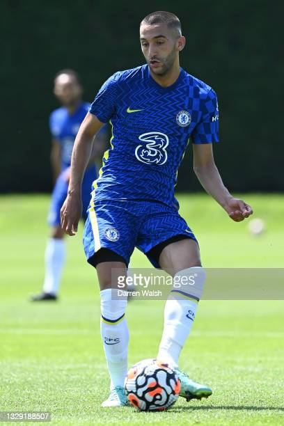 Hakim Ziyech of Chelsea passes the ball during a Pre-Season Friendly between Chelsea and Peterborough United at Chelsea Training Ground on July 17,...