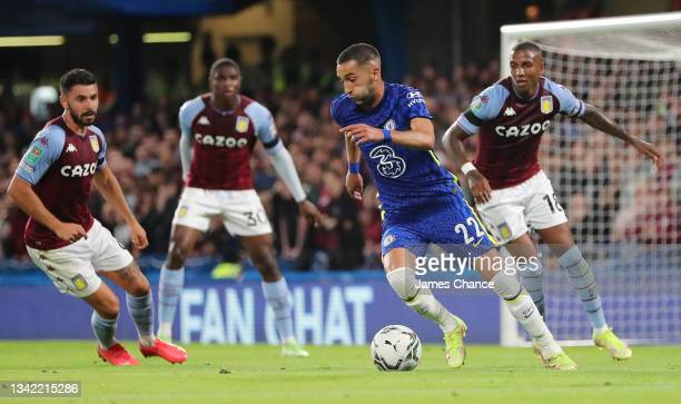Hakim Ziyech of Chelsea runs with the ball during the Carabao Cup Third Round match between Chelsea and Aston Villa at Stamford Bridge on September...