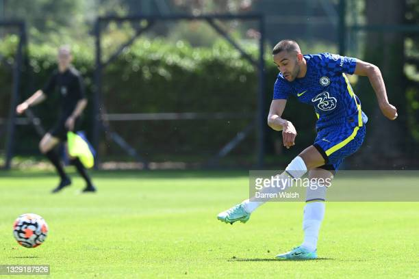 Hakim Ziyech of Chelsea scores a goal during a Pre-Season Friendly between Chelsea and Peterborough United at Chelsea Training Ground on July 17,...