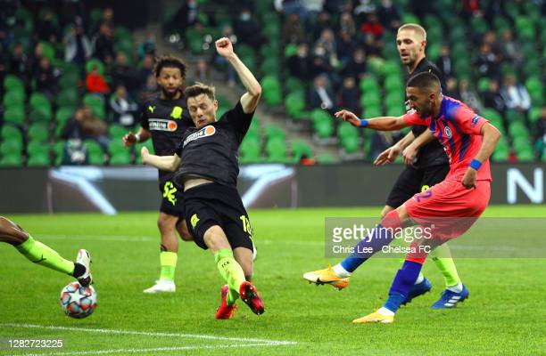 Hakim Ziyech of Chelsea scores his team's third goal during the UEFA Champions League Group E stage match between FC Krasnodar and Chelsea FC at...