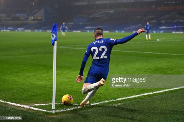 Hakim Ziyech of Chelsea takes a corner during the Premier League match between Chelsea and Wolverhampton Wanderers at Stamford Bridge on January 27,...