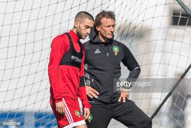 Hakim Ziyech of Morocco coach Herve Renard of Morocco during a training session prior to the International friendly match between Morocco and...