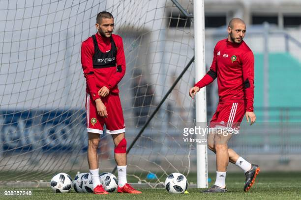 Hakim Ziyech of Morocco Nordin Amrabat of Morocco during a training session prior to the International friendly match between Morocco and Oezbekistan...