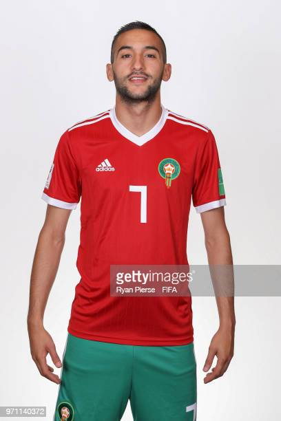 Hakim Ziyech of Morocco poses during the official FIFA World Cup 2018 portrait session on June 10 2018 in Voronezh Russia