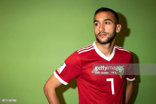 Hakim Ziyech of Morocco poses for a portrait during the official FIFA World Cup 2018 portrait session at on June 10, 2018 in Voronezh, Russia.