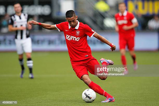Hakim Ziyech of Twente in action during the Dutch Eredivisie match between Heracles Almelo and FC Twente at Polman Stadion on September 21 2014 in...