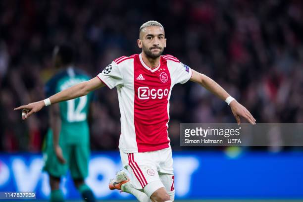 Hakim Ziyechin of Ajax celebrates his team's second goal during the UEFA Champions League Semi Final second leg match between Ajax and Tottenham...