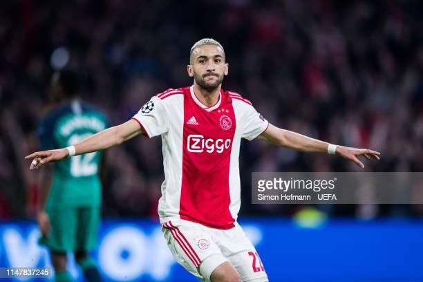 Hakim Ziyechin of Ajax celebrates his team's second goal during the UEFA Champions League Semi Final second leg match between Ajax and Tottenham...