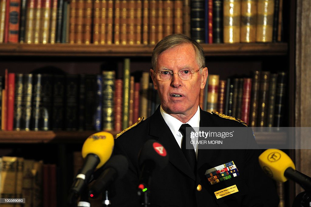 Hakka Pettersson, chief of staff of King Karl Gustav of Sweden, delivers a speech during a press briefing regarding the Royal wedding of the Swedish crown princess Victoria and her fiance Daniel Westling at the Bernadote library of the Royal Castle in Stockholm on May 24, 2010. Many tourists paid a visit to the Swedish capital less than a month before Crown Princess Victoria 's wedding, the 32-year-old eldest daughter of King Carl XVI Gustaf.