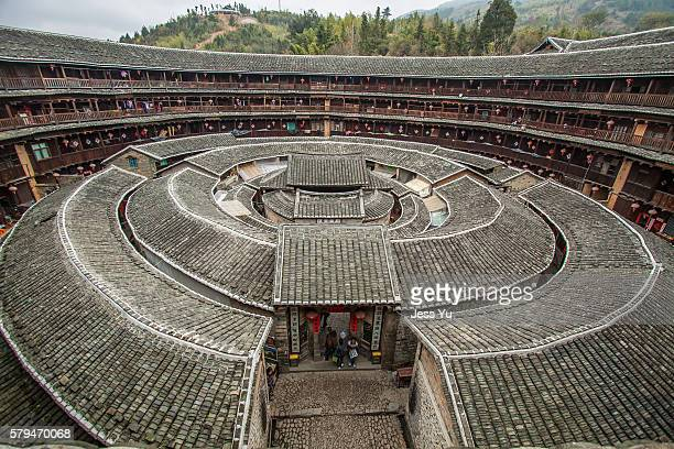 Hakka Roundhouse tulou walled village located in Fujian, China.