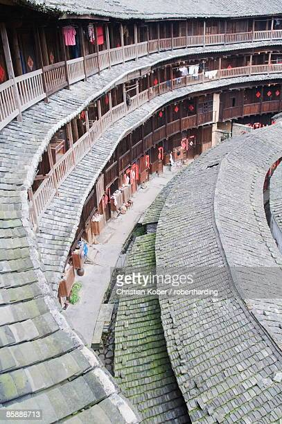 hakka tulou round earth buildings, chengqilou, unesco world heritage site, fujian province, china, asia - fujian tulou stock pictures, royalty-free photos & images