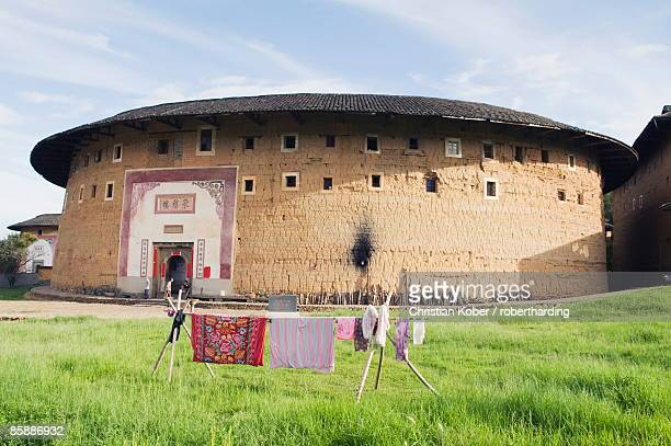 hakka tulou round earth buildings, unesco world heritage site, fujian province, china, asia - fujian tulou stock pictures, royalty-free photos & images