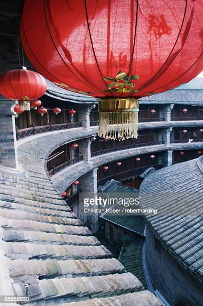 hakka tulou round earth buildings, zhenchenglou, unesco world heritage site, fujian province, china, asia - fujian tulou stock pictures, royalty-free photos & images