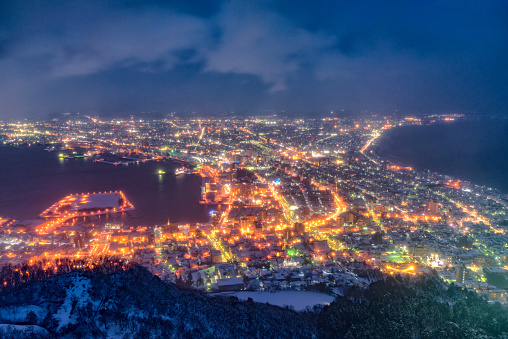Hakodate City view from Mountain Hakodate. The most beautiful night view in Japan , winter season, Hokkaido, Japan - gettyimageskorea