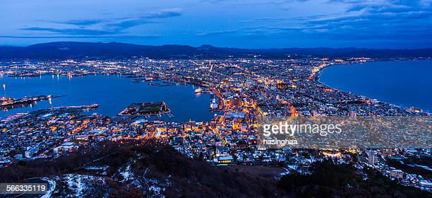 Hakodate cityscape at night.