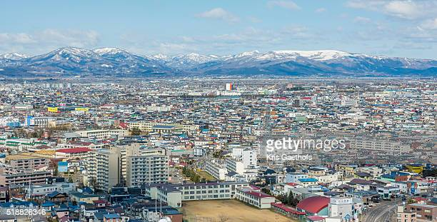 Hakodate cityscape with snow capped mountains