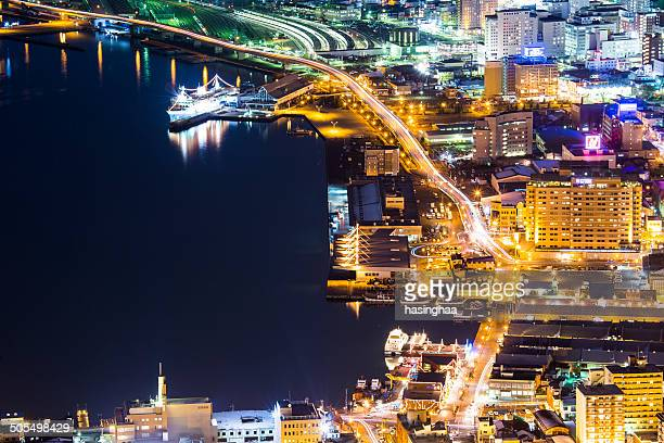 Hakodate port at night.