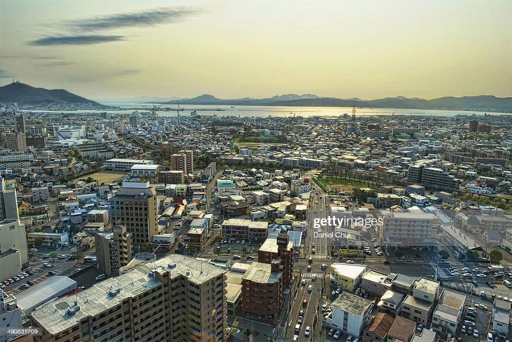Hakodate Port during sunset : Stock Photo