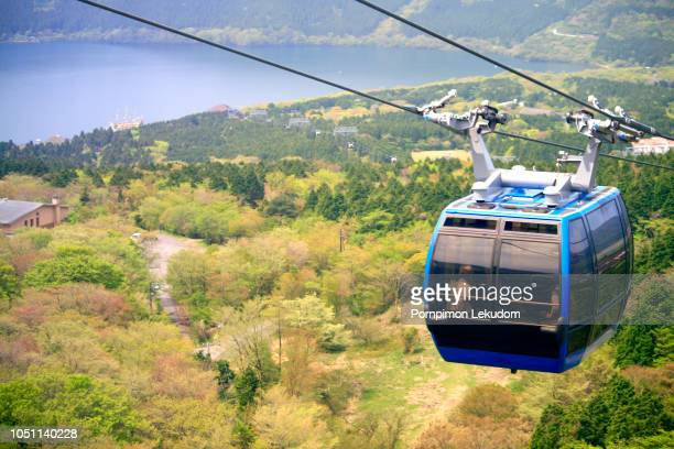 hakone cable car in top view - overhead cable car stock pictures, royalty-free photos & images