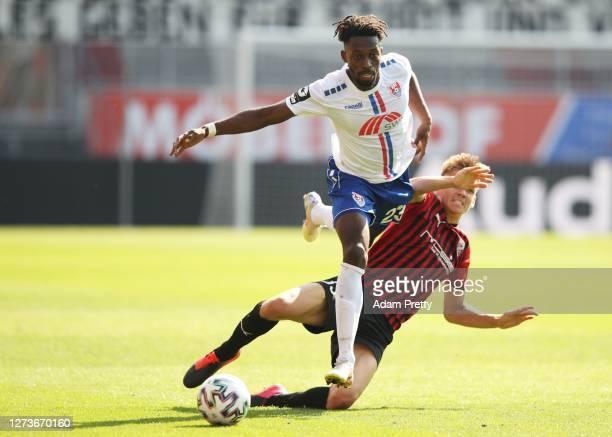 Haktab Traore of KFC Uerdingen 05 is challenged by Filip Bilbija of FC Ingolstadt 04during the 3 Liga match between FC Ingolstadt and KFC Uerdingen...
