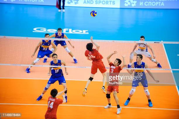 Haku Ri Japan v Italy during Mens Volleyball Nations League VNL game between Japan and Italy at Palace of Culture and Sport in Varna Bulgaria on June...