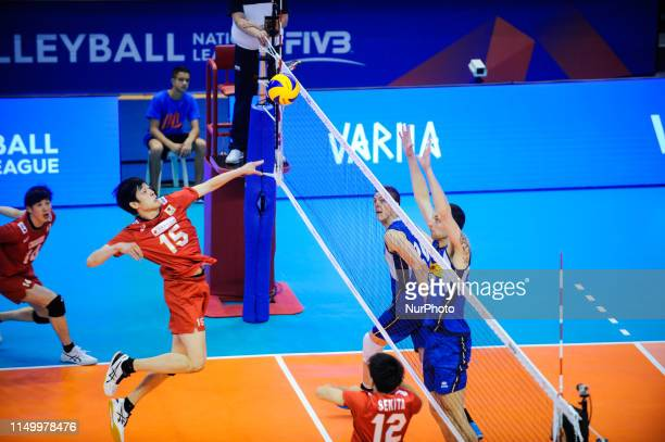 Haku Ri Japan v Simone Anzani Italy during Mens Volleyball Nations League VNL game between Japan and Italy at Palace of Culture and Sport in Varna...