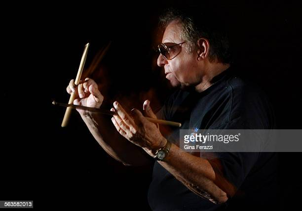 Hal Blaine one of the most famous drummers in the history of pop music plays with his sticks in his home in Palm Desert