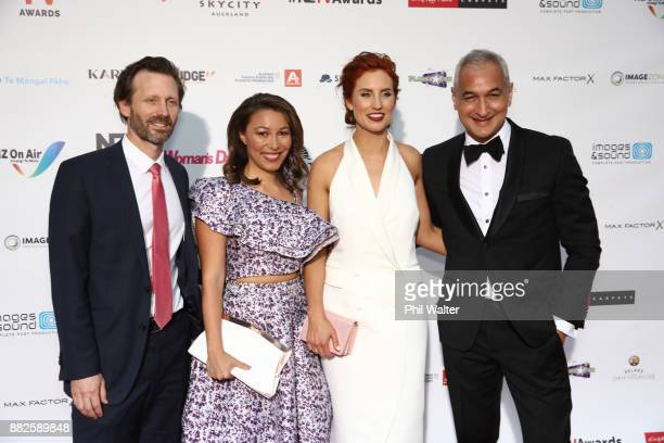 Hal Crawford Melissa Davies Samantha Hayes and Mike McRoberts arrive ahead of the NZ TV Awards at Sky City on November 30 2017 in Auckland New Zealand