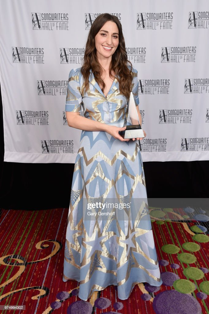 Hal David Starlight Award Honoree Sara Bareilles poses with an award backstage during the Songwriters Hall of Fame 49th Annual Induction and Awards Dinner at New York Marriott Marquis Hotel on June 14, 2018 in New York City.