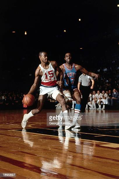 Hal Greer of the Philadelphia 76ers drives to the basket against the Atlanta Hawks during the 1970 season NBA game in Philadelphia Pennsylvania NOTE...