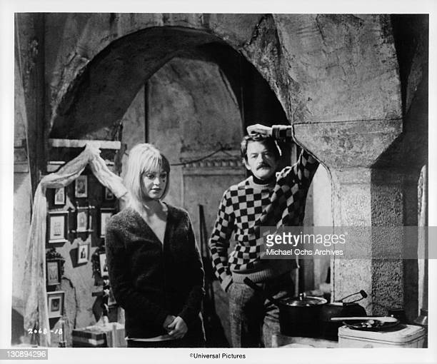 Hal Holbrook and Goldie Hawn meet at her ballet master's apartment in Moscow in a scene from the film 'The Girl From Petrovka' 1974