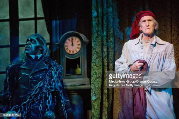Hal Landon Jr at right has been playing Ebenezer Scrooge in A Christmas Carol at South Coast Repertory for the past 35 years He rehearses with actor...